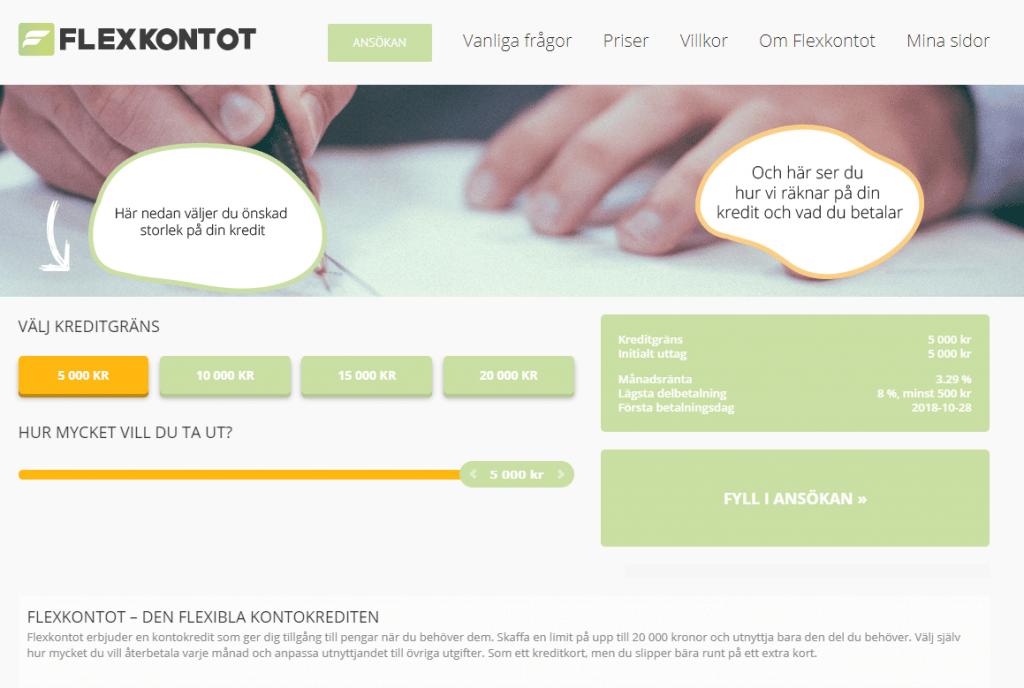 kontokredit hos Flexkontot