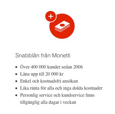 Låna pengar på helgen från Monetti